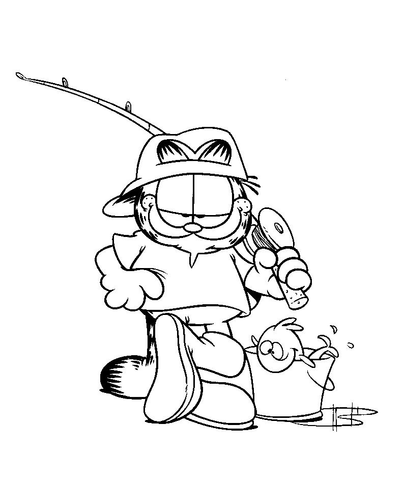 Garfield Wanted To Go Fishing Coloring Page | Coloring Pages | Pinterest