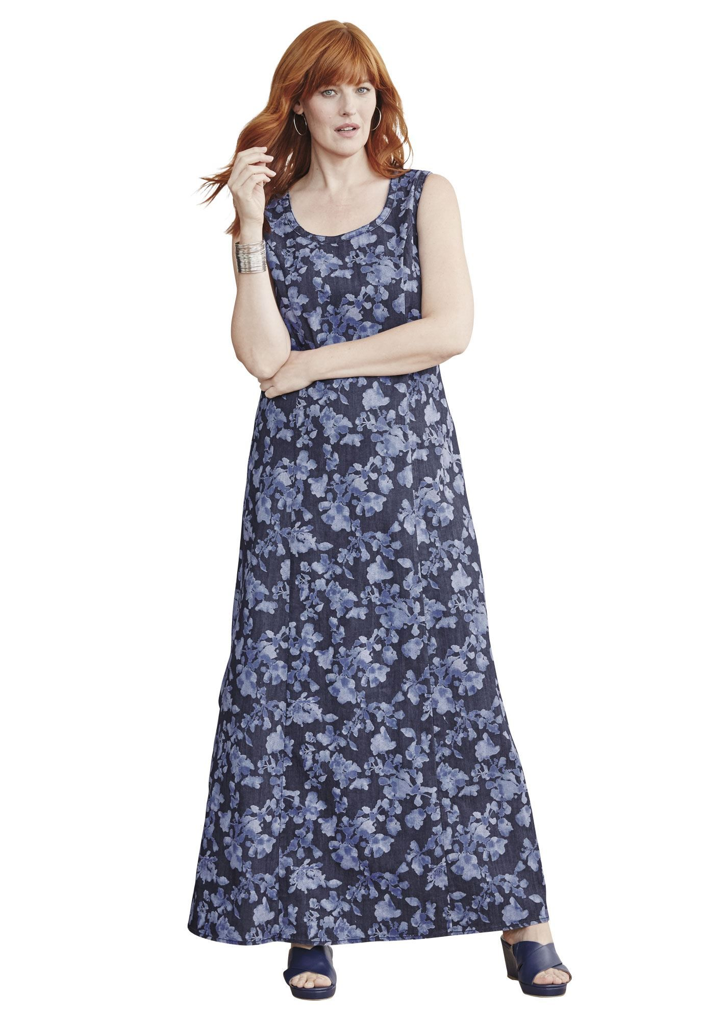 Wear this denim maxi dress as is now, or with a shrug later in the ...