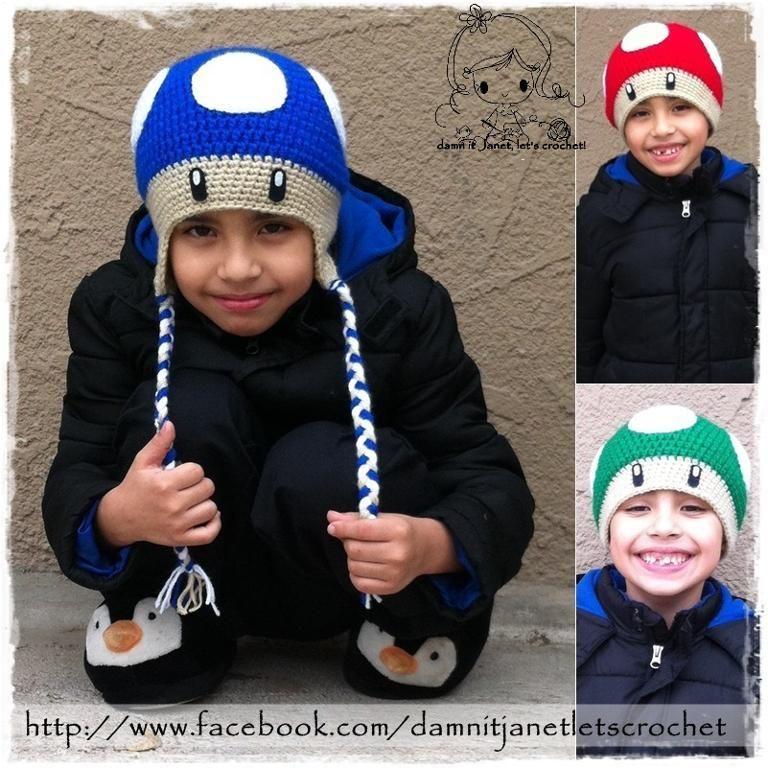 Mario Bros. Mushroom Beanie   crochet character hats   Pinterest ...