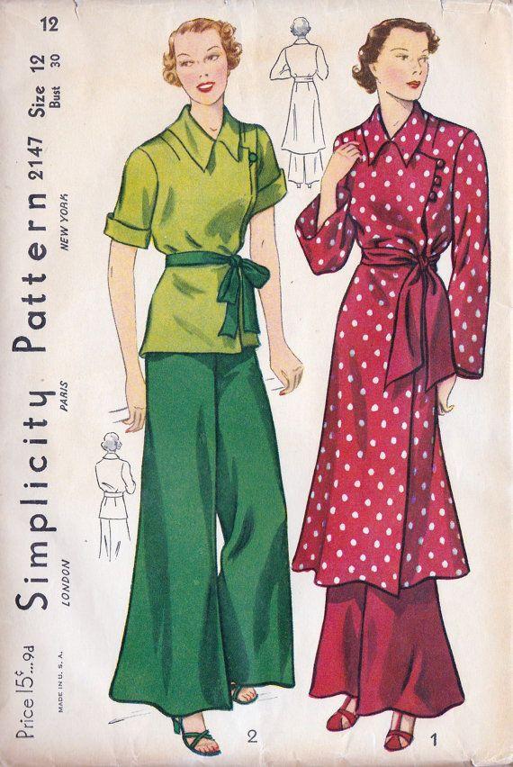 1930s Misses Pajamas Simplicity 2147 | Mode 1920 -1929 Jahre ...