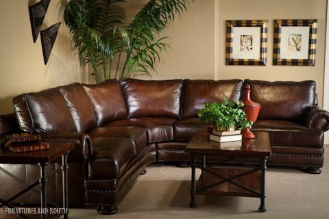 Bernhardt Furniture Foster Foster Leather Sectional Brown