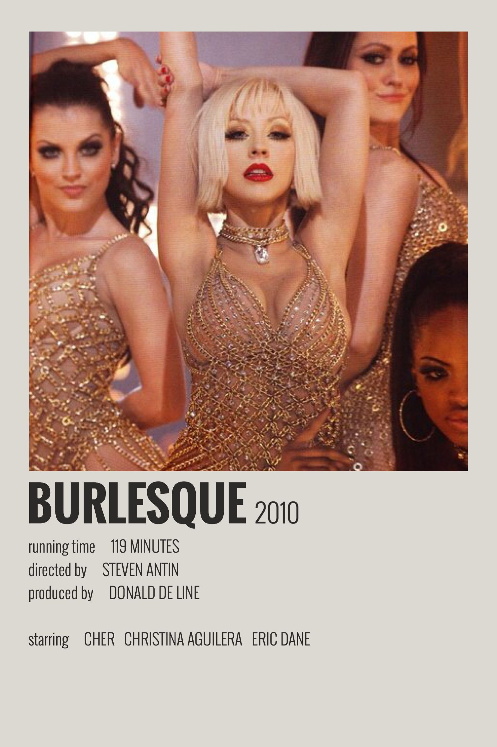 Alternative Minimalist Movie/Show Polaroid Poster - Burlesque