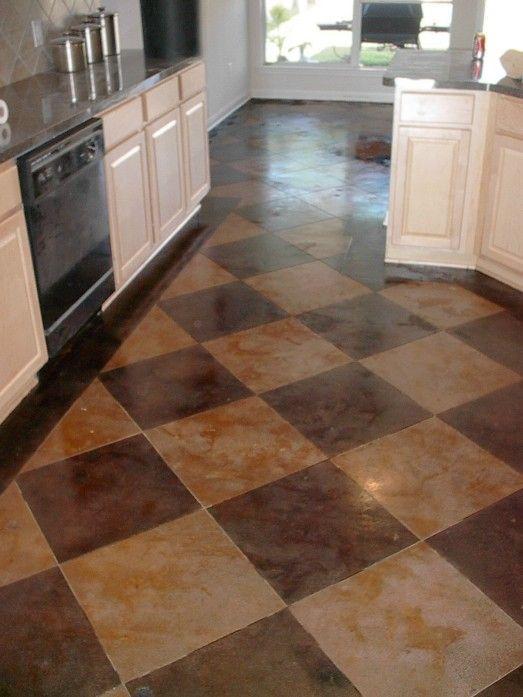 Diy Concrete Flooring Makeover: Checkerboard Stamped Concrete...basement.