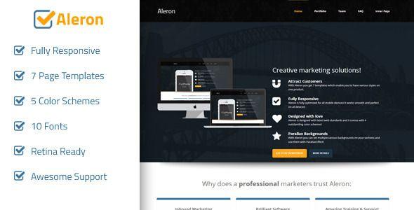 Aleron - Responsive Marketing Landing Page - 25 Prodigious Landing ...