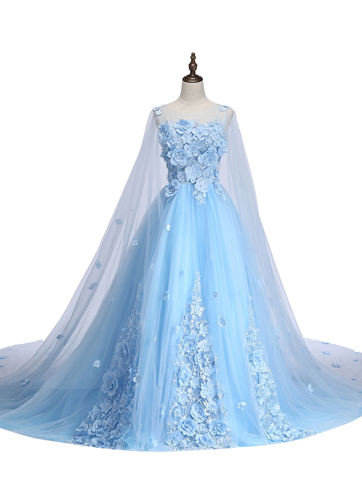 Baby blue tulle prom dress with d flowers prom gown wedding dress