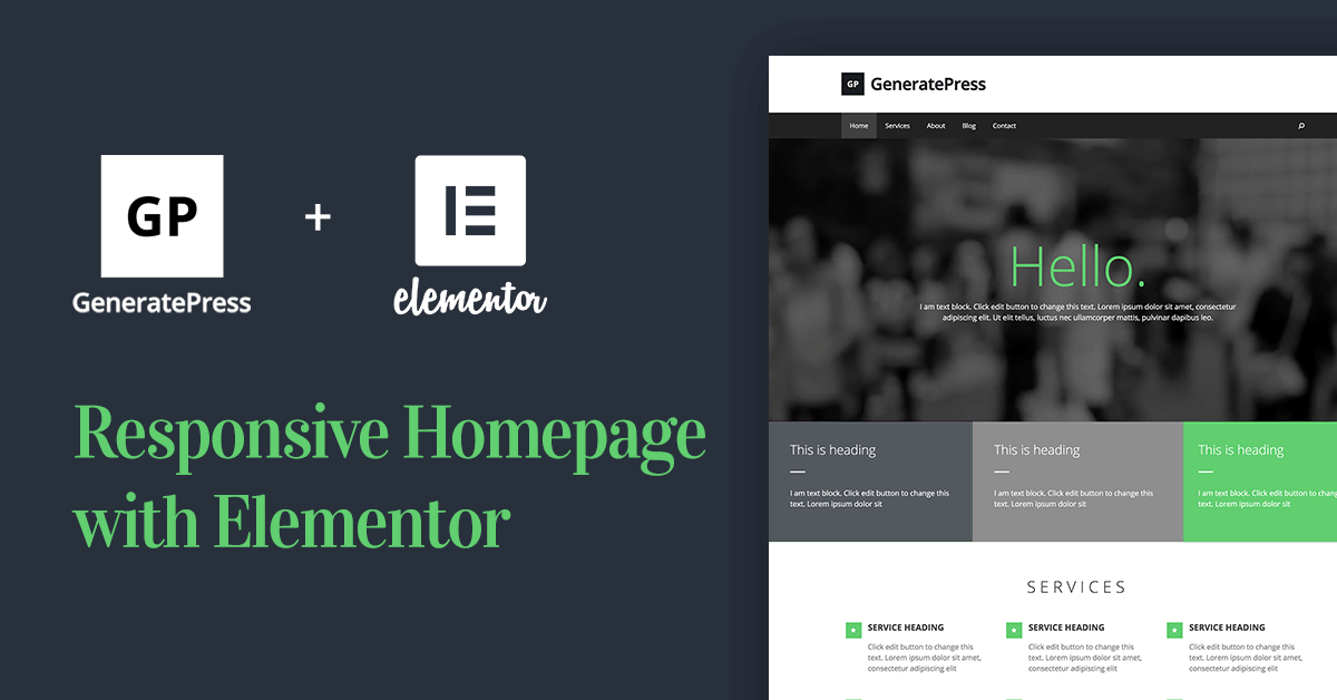Learn how to create a responsive homepage with GeneratePress WordPress theme and Elementor Page Builder.