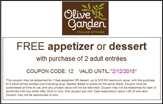 Olive Garden Free Appetizer Or Dessert With 2+ Adult Entrees Orders