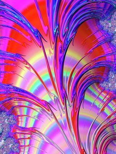 Psychedelic Fractal Art With Trippy Colors Print by Matthias Hauser
