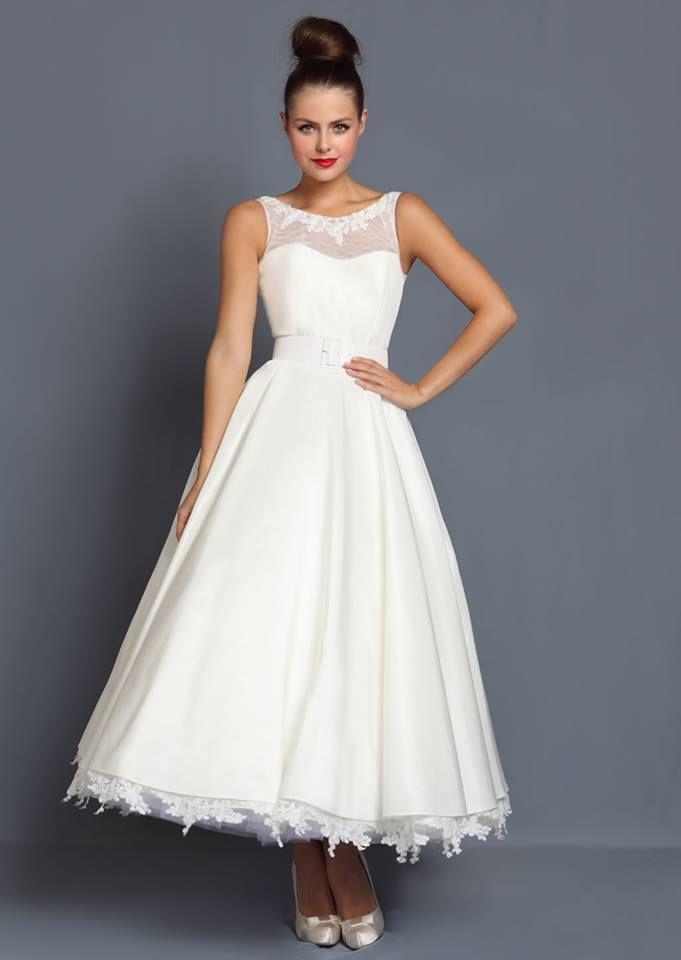 1950 s 60 s Tea Length Vintage Wedding Bridal Dress Size 14 lace ...