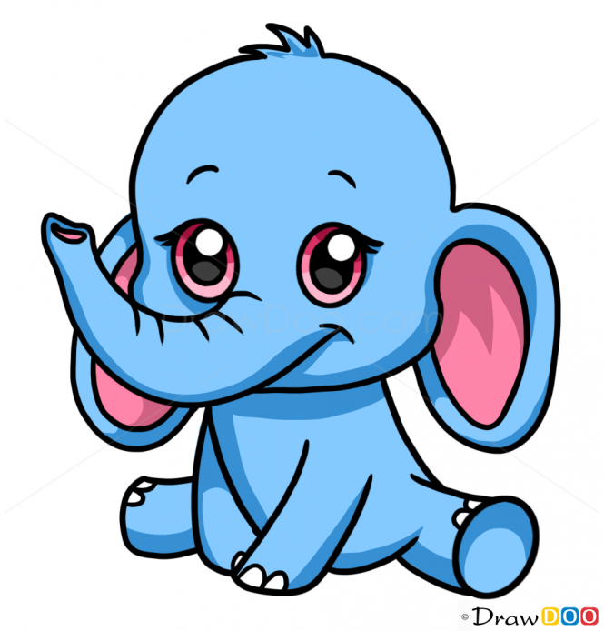 How to Draw Baby Elephant, Cute Anime Animals How to
