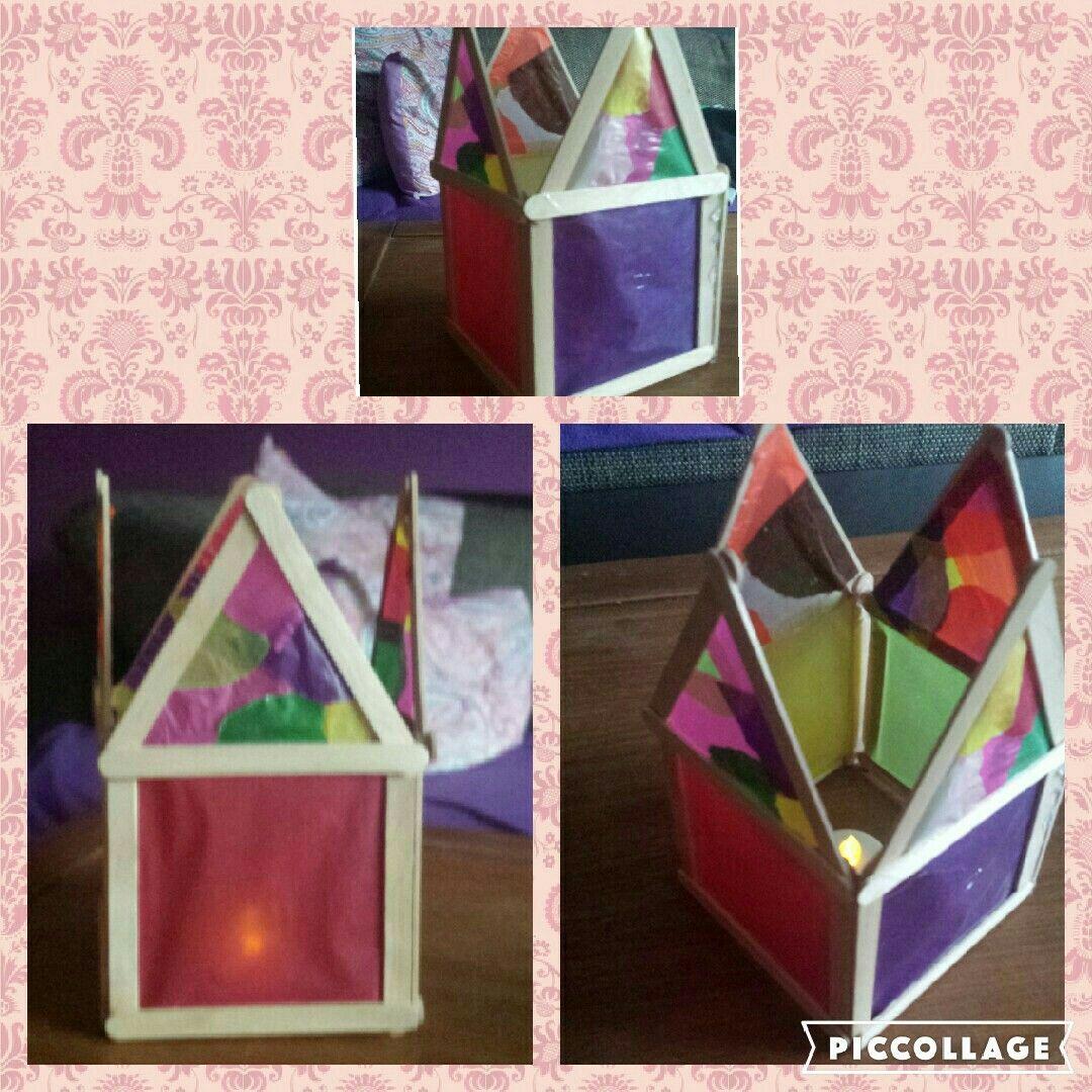 Teelichthalter Haus aus eisstäbchen | basteln mit Eisstielen ...