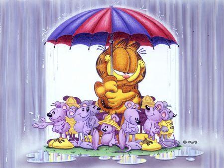 Garfield Love Is Sharing An Umbrella Garfield Wallpaper Garfield Garfield Pictures