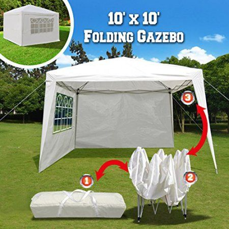 Sunrise 10' x 10' Wedding Party Tent Portable Folding Gazebo Beach Canopy W/Carry Bag & 4 Sidewalls & Side Panel Sunrise 10' x 10' Wedding Party Tent Portable Folding Gazebo Beach Canopy W/Carry Bag & 4 Sidewalls & Side Panel, White