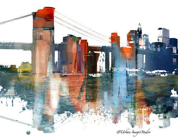 Impresión del puente de Brooklyn, Nueva York Skyline, Skyline, silueta urbana, paisaje urbano, lámina, cartel, arte moderno, pintura, arte de pared, imprimir