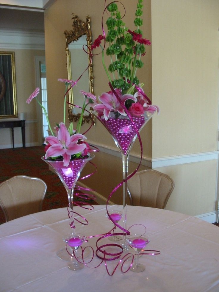 Large margarita glass centerpieces centerpiece using