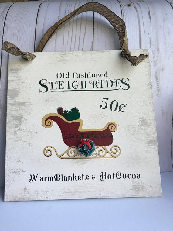 Farmhouse Christmas Decor, Vintage Christmas, Winter Decor, Sleigh