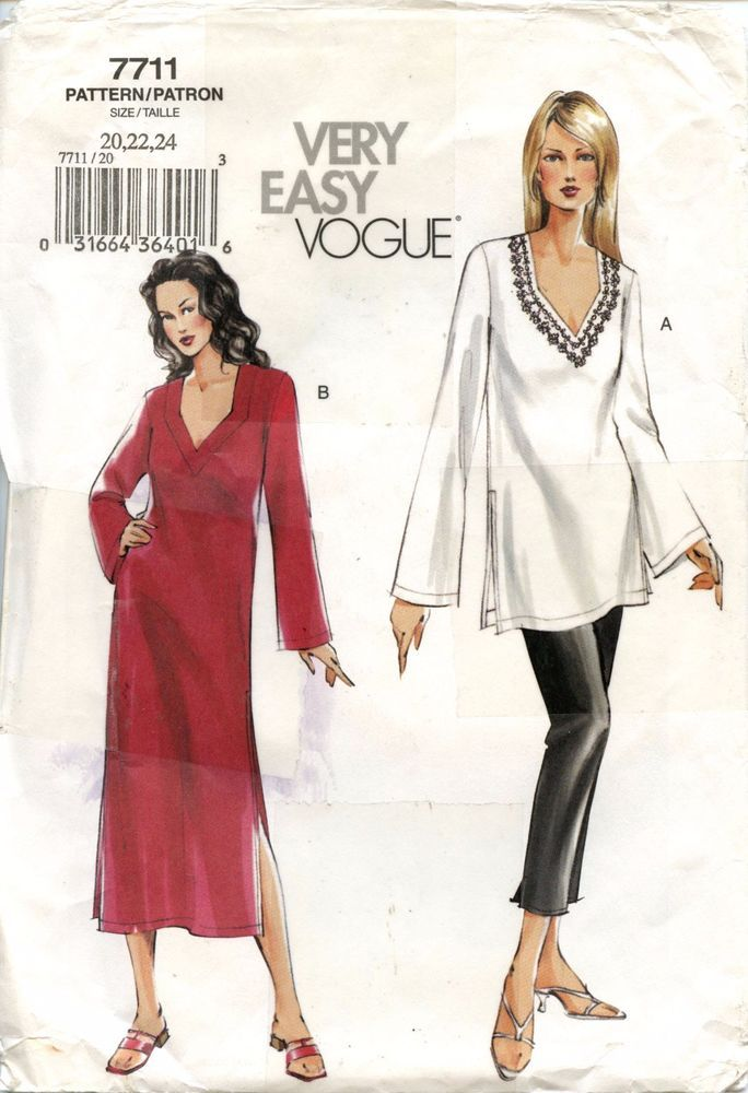 Vogue Sewing Pattern 7711 Tunic Caftan and Pants Size 20-22-24 Uncut ...