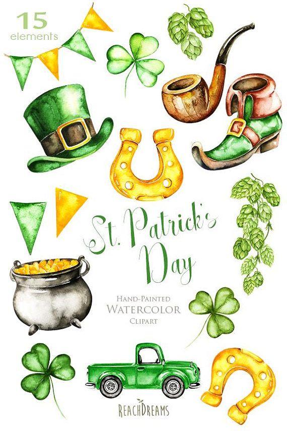 St. Patricks Day, Watercolor Saint Patrick's Day C