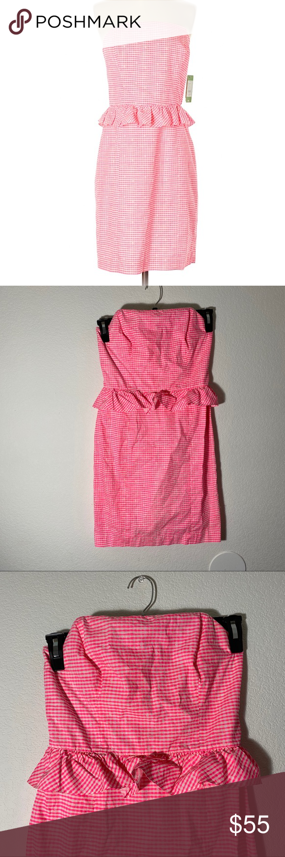 Photo of [lilly pulitzer] pink gingham lowe strapless dress super super cute :-) hardly w…