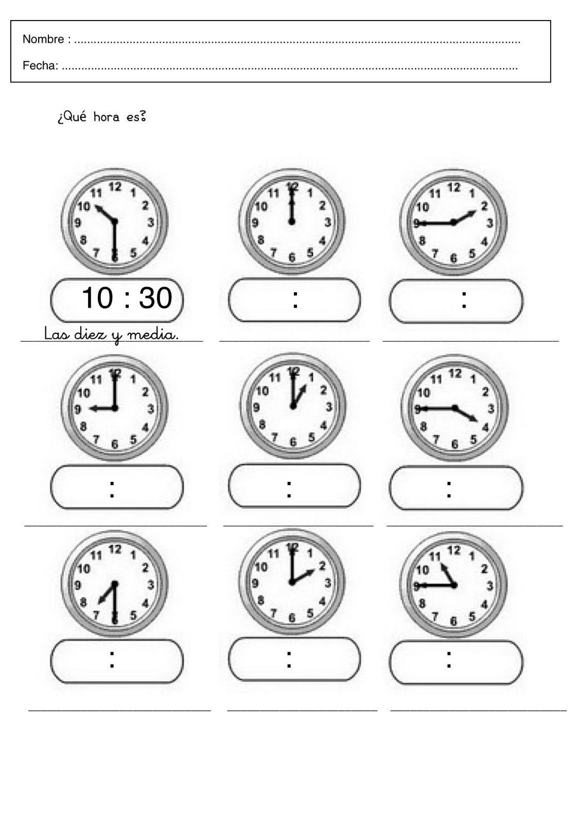 Ficha 9-a | las horas | Pinterest | Schule