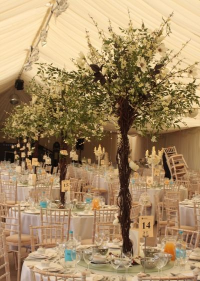 Flower Tree Centrepieces By Essential Wedding Hire At Micklefield Hall Tree Wedding Centerpieces Tree Centrepiece Wedding Wedding Centerpieces