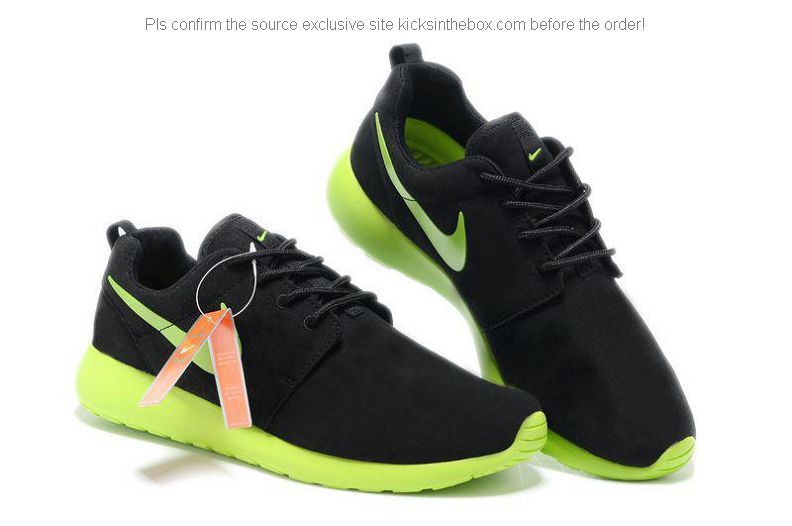 pretty nice 0e78f 4b14f Nike New Roshe Run Mens Trainer Fur Shoes in Black and Green