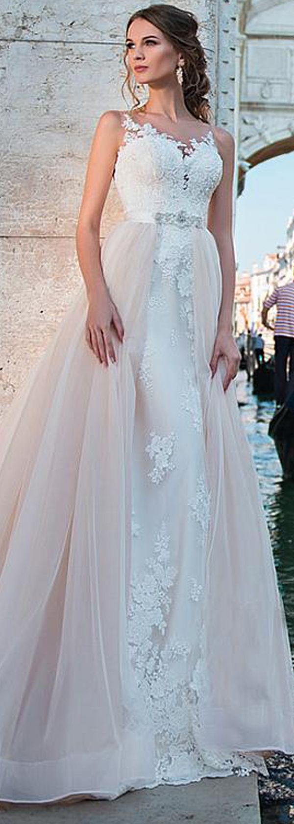 Fabulous Tulle Sheer Jewel Neckline 2 In 1 Wedding Dress With Lace ...