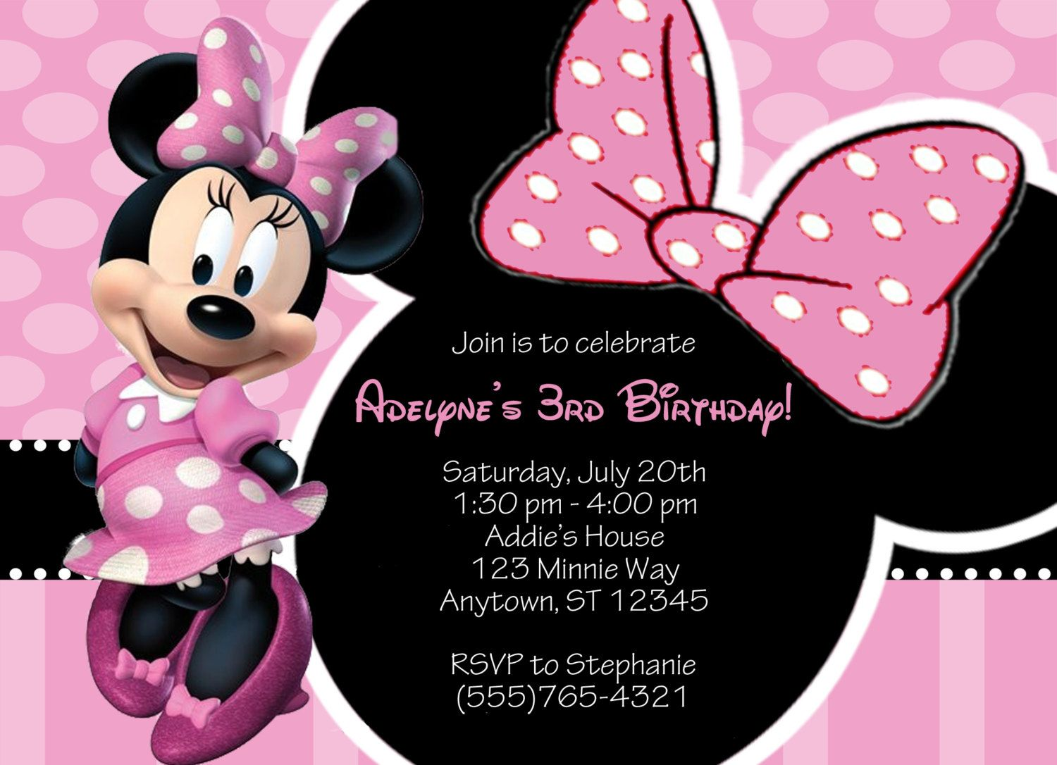Minnie Mouse Custom Invitations with adorable invitation sample