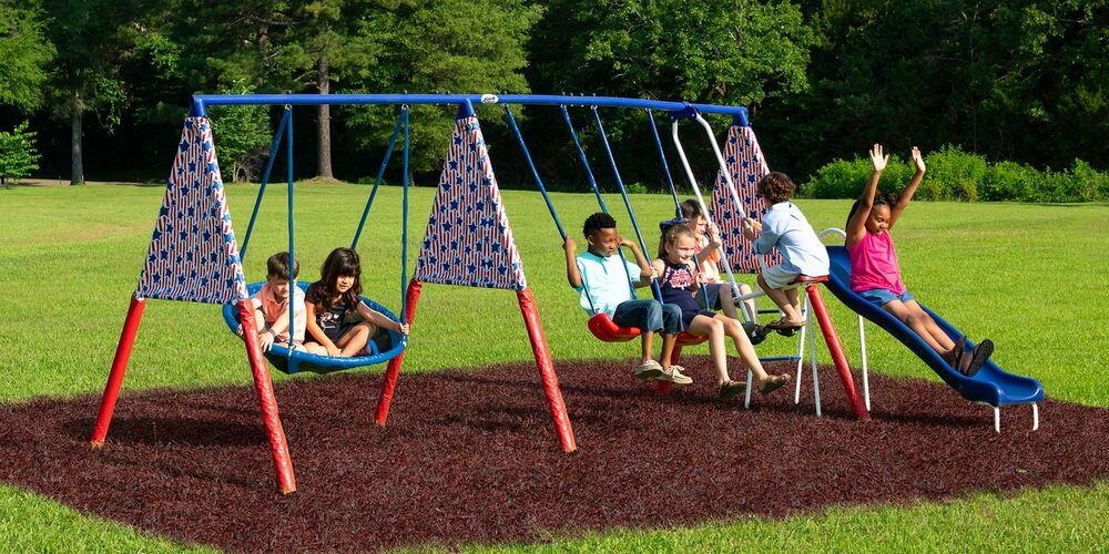 Kids Outdoor Metal Swing Set Big Welded Steel Blow Molded Slide 2 Swings Glider Xdprecreationllc K Playground Swing Set Swing Sets For Kids Playground Swings