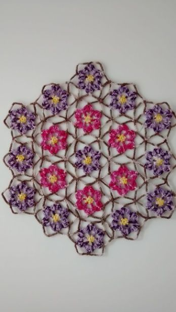 Quadro de Crochê Flores