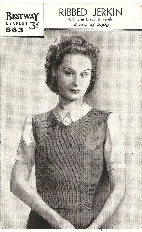 d28527779d1e0d 1940 s Ribbed Vest - Ladies Knitting Pattern