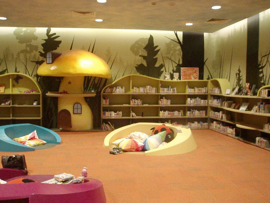 Children 39 s library central public library singapore for Wall library design