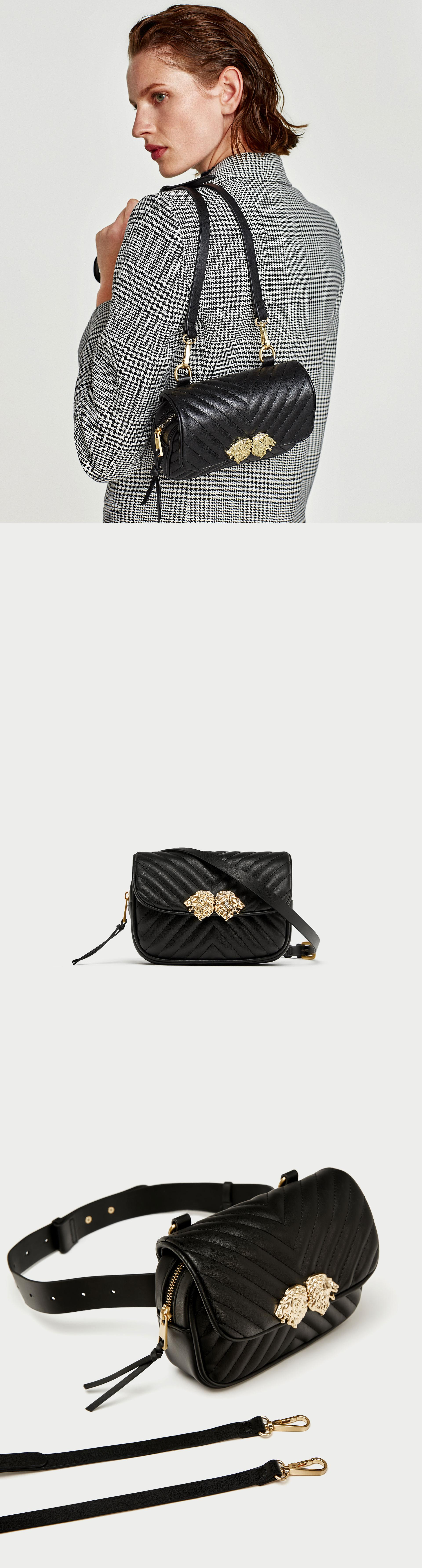 c8716ee207a Crossbody Belt Bag With Lions Detail // 39.90 USD // Zara // Black  multi-way crossbody bag that can be worn as a belt bag. Hardware detail on  the foldover ...