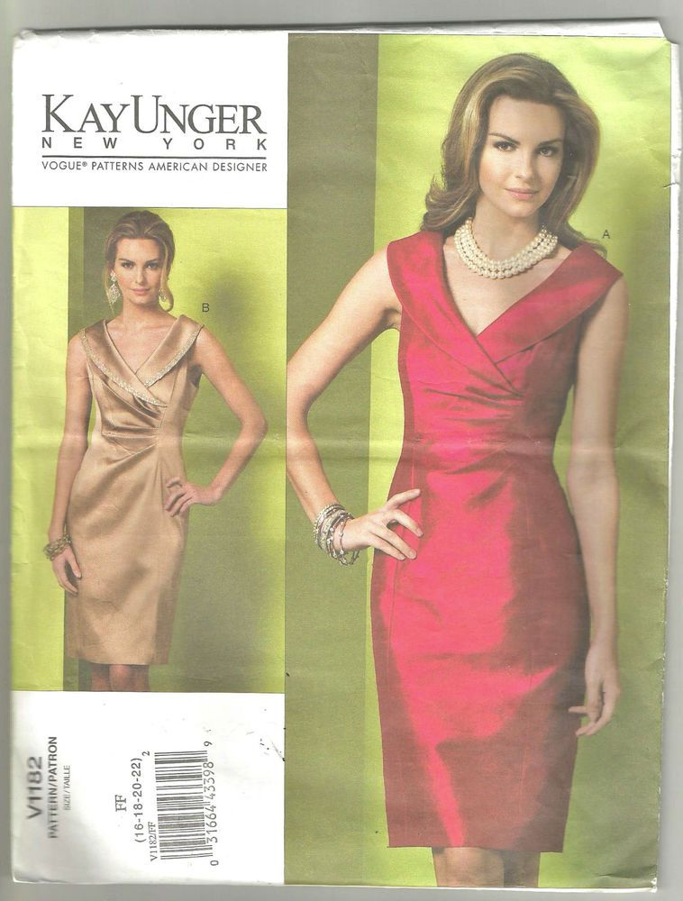 Vogue Sewing Pattern Dress Fitted Lined Sleeveless Kay Unger Vogue