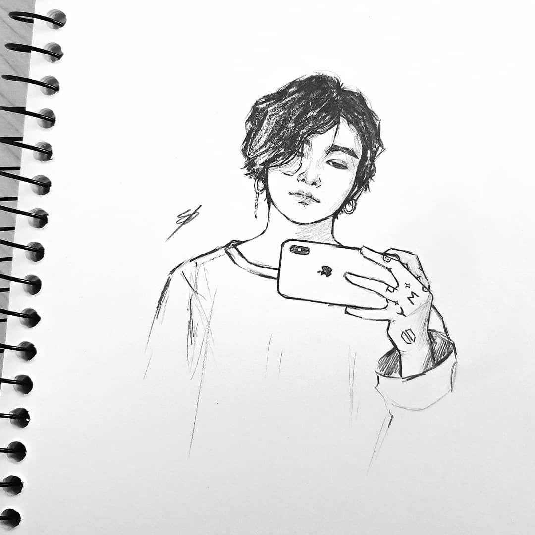 JK stans how you feeling? 👀👀👀 #bts #btsfanart #btsart #fanart #art #jungkook #jungkookfanart #sketch