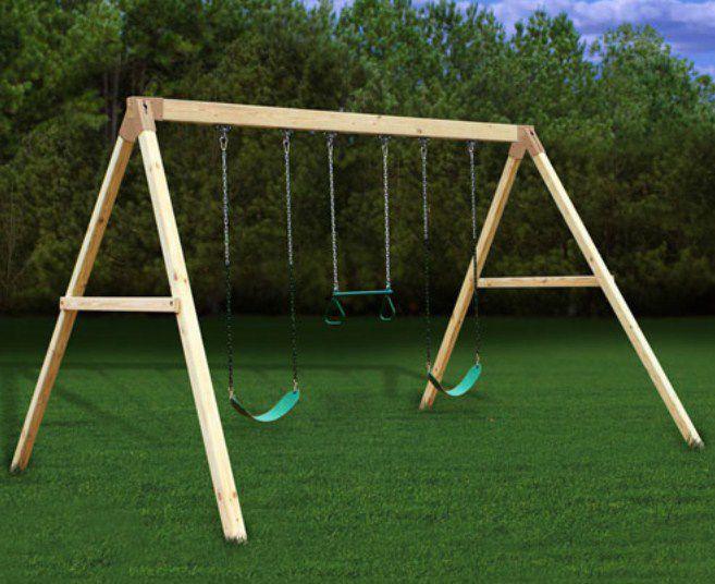 Plan It Play Free Standing Swing Beam Wooden Swing Set Swing