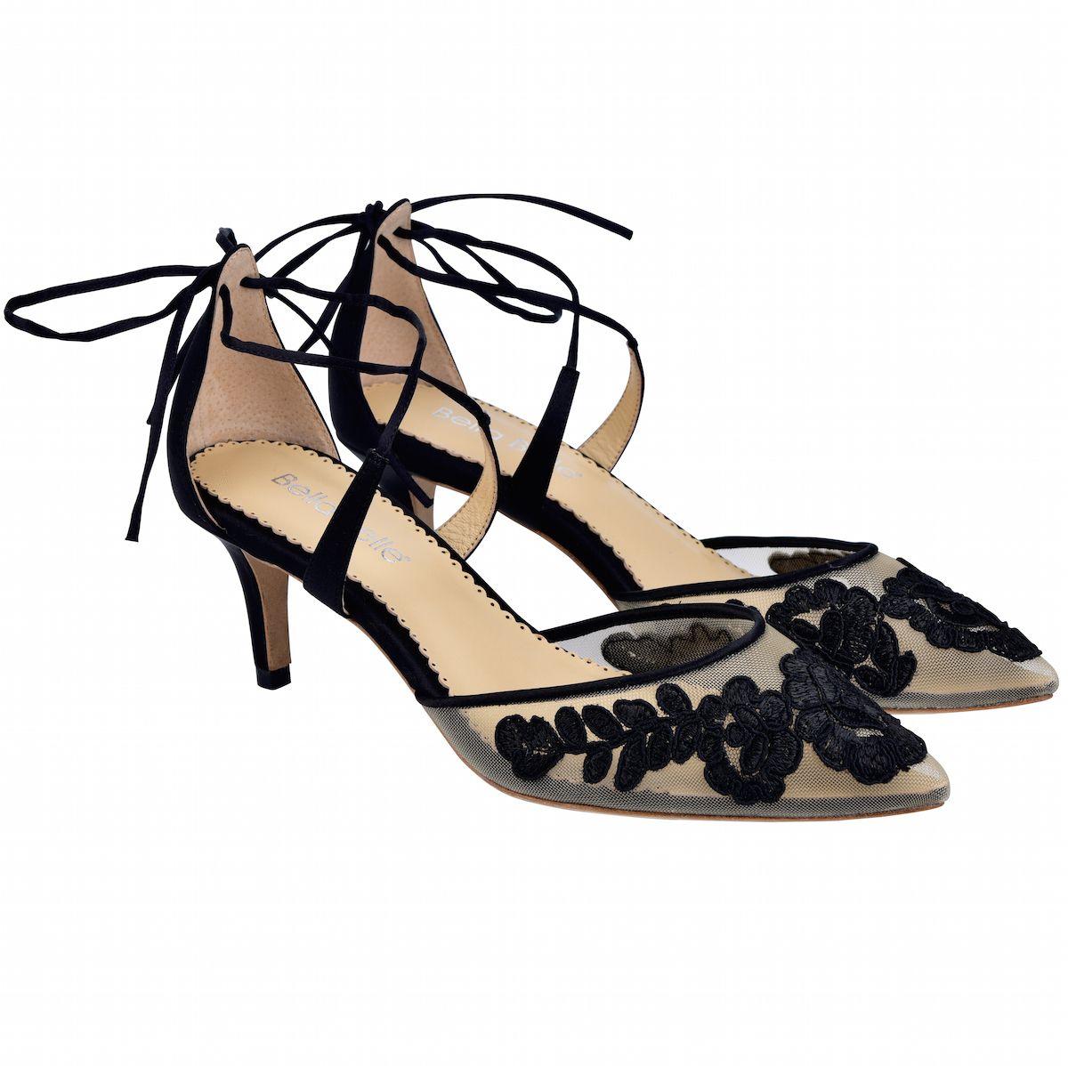 Kitten Lace Black Evening Shoe In 2020 Black Evening Shoes Evening Shoes Low Heel Kitten Heels