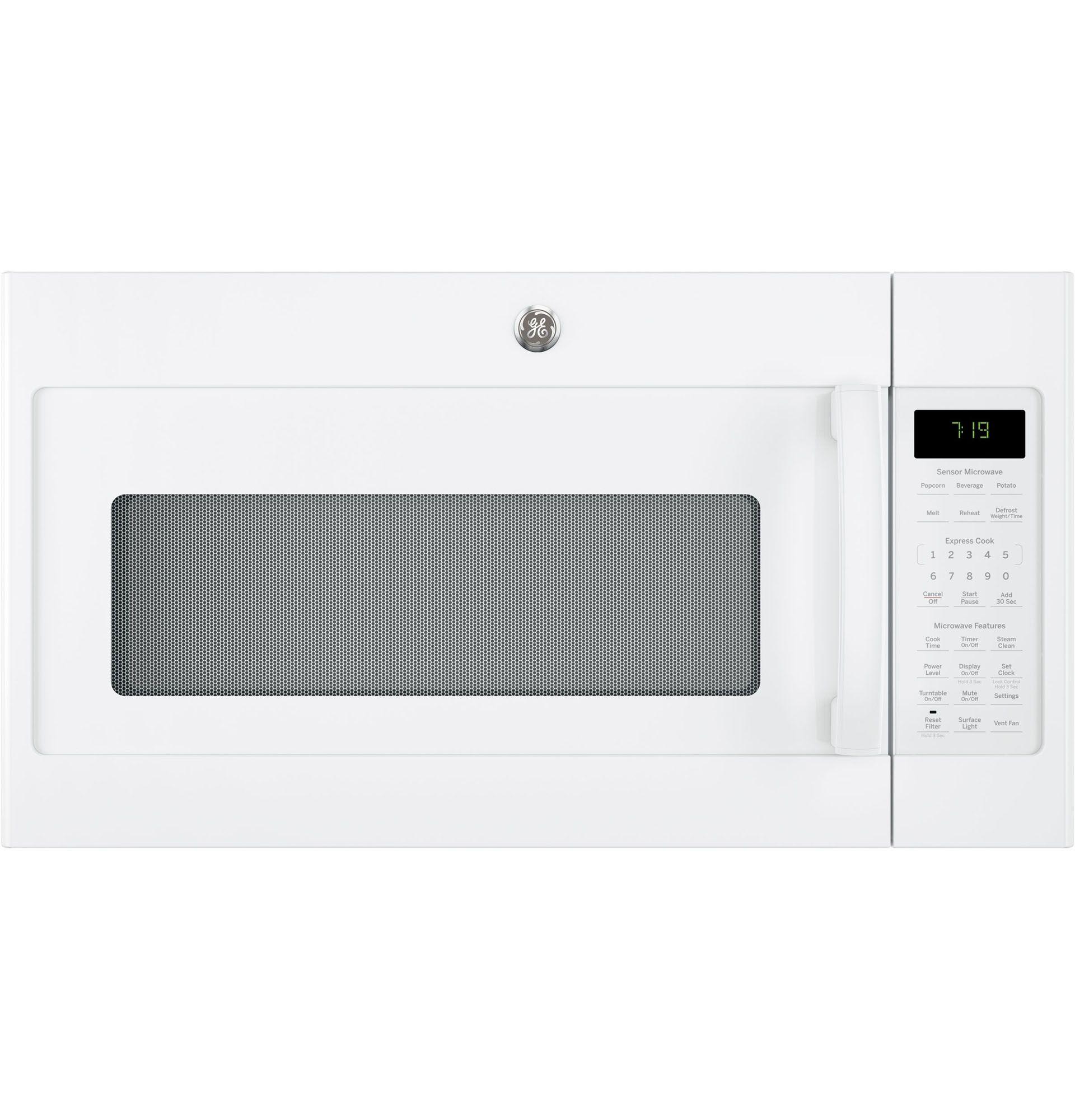 Ge Jnm7196dkww 1 9 Cu Ft Over The Range Microwave White Range Microwave Microwave Microwave Oven