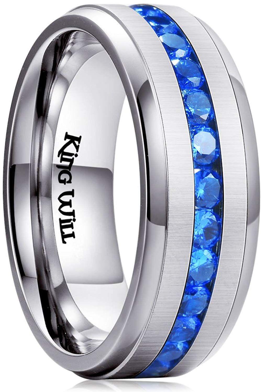 King Will GEM Men Women 8mm Titanium Engagement Ring