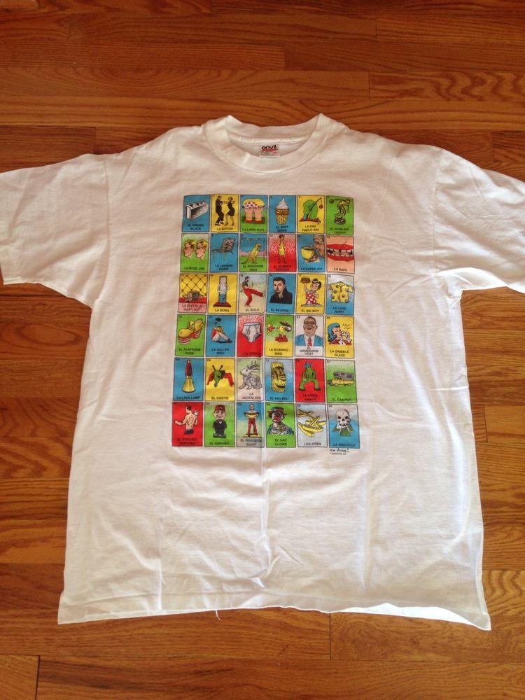 b09eb87f0b9 Vtg 90s Ken Brown La Loteria Pop Art T Shirt XL Made USA Bong Cartoon  Hippie  Anvil  GraphicTee