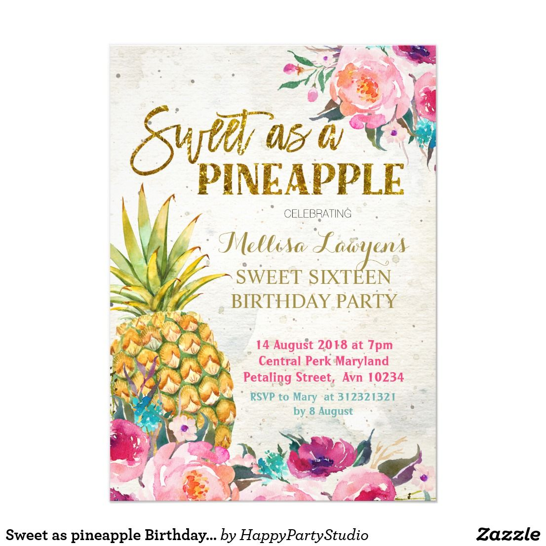 Sweet as pineapple Birthday Invitation | { Happy Birthday ...