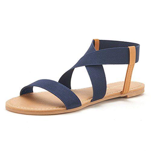 DREAM PAIRS ELASTICA Women Summer Fashion Design Open -Toe Elastic Ankle  Strap Gladiator Flat Sandals