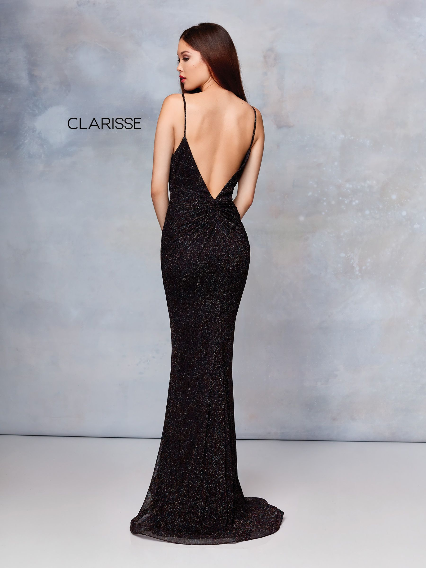 5482767916 3831 - Midnight Blue fit to flare glitter jersey prom dress with a low cut  open back and halter neckline