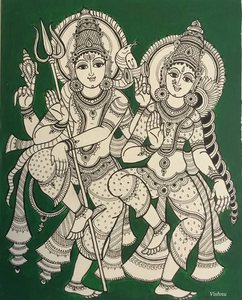 Kalamkari Shiva Parvathi Kalamkari Painting Indian Art