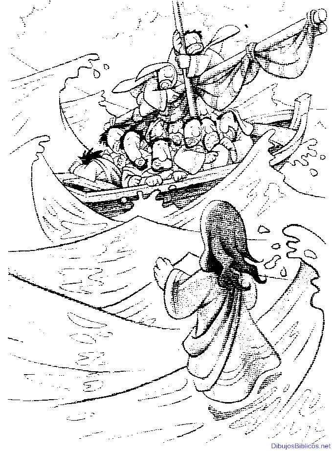 Jesús camina sobre el agua, milagros de Jesus, dibujo para colorear ...