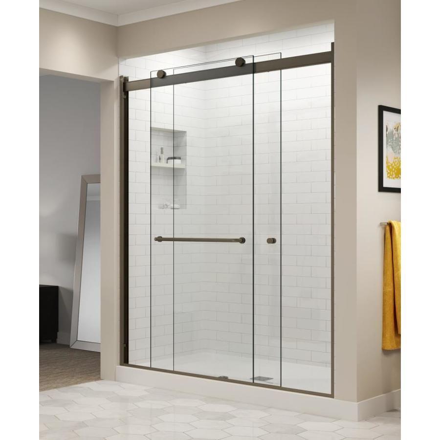 Basco Rotolo 56 In To 60 In W Semi Frameless Oil Rubbed Bronze Bypass Sliding Shower Do Semi Frameless Shower Doors Frameless Sliding Shower Doors Shower Doors