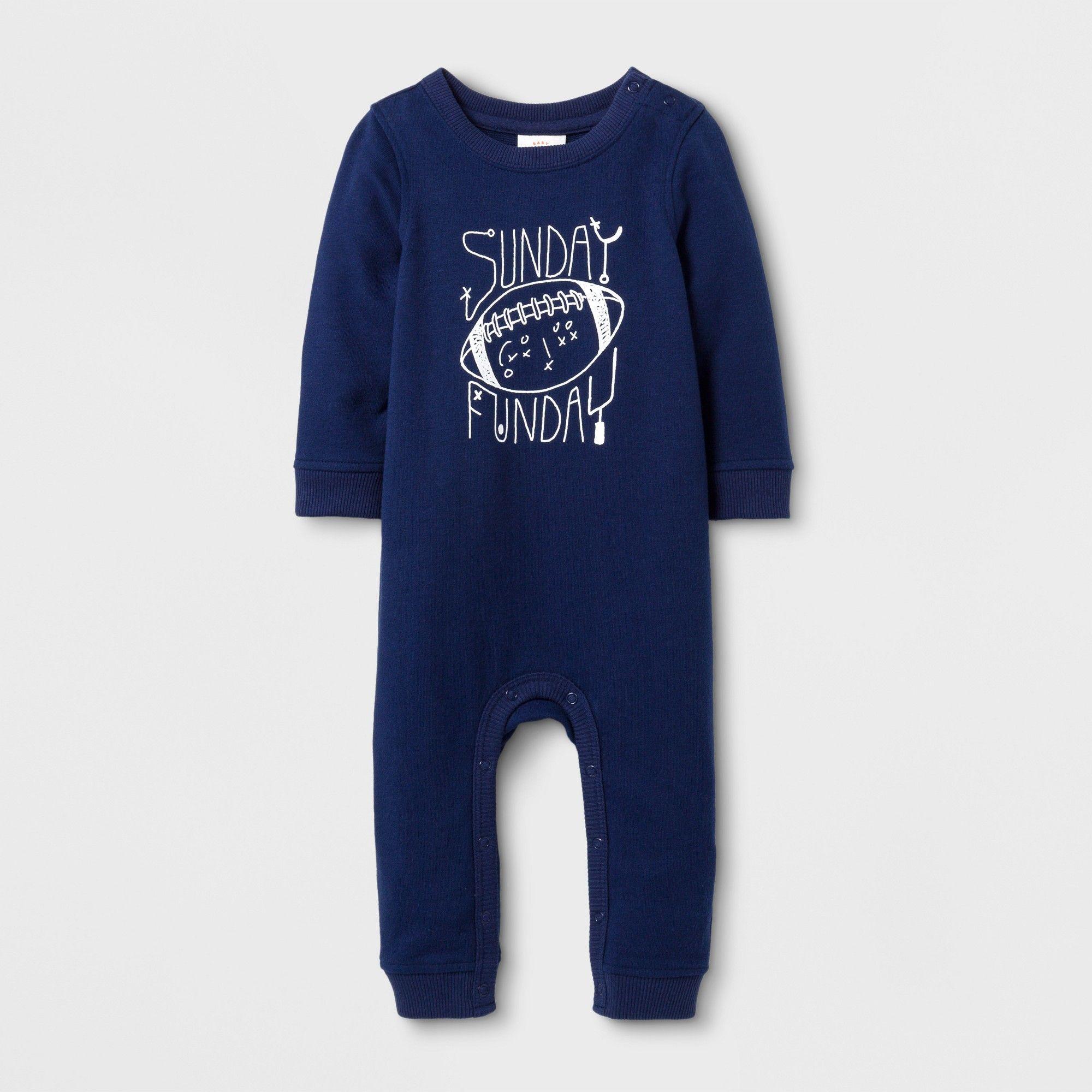 5453b8922 Baby Boys   sunday Funday  Long Sleeve Romper - Cat   Jack Blue 6-9M ...