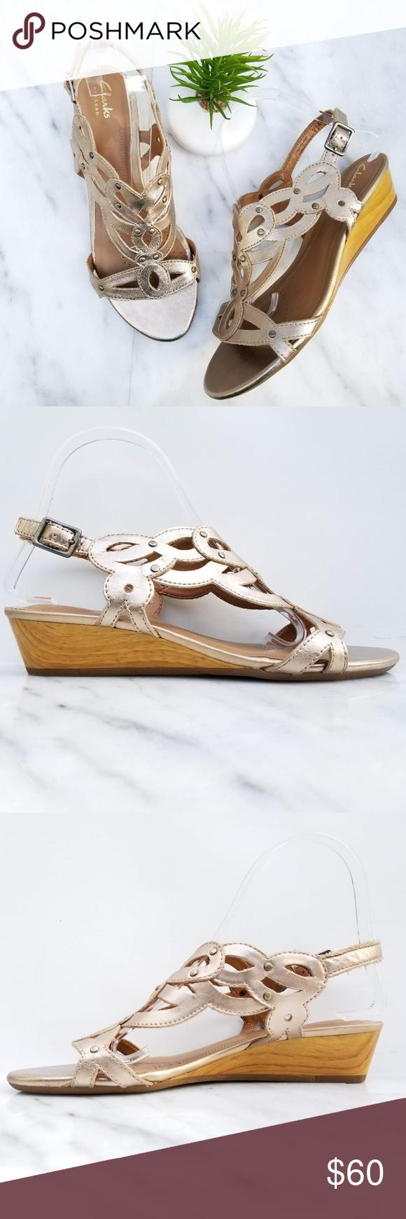 d8386797f84 Clarks Playful Tunes Wedge Sandal Gold Slingback Clarks artisan Women s  Playful Tunes Sandal Lattice-effect