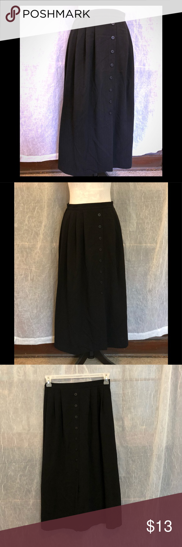116e5295e Alfred Dunner Black Maxi Skirt Size 12 Maxi skirt. Back of waist is elastic.  Small slit in front . In great condition. 33