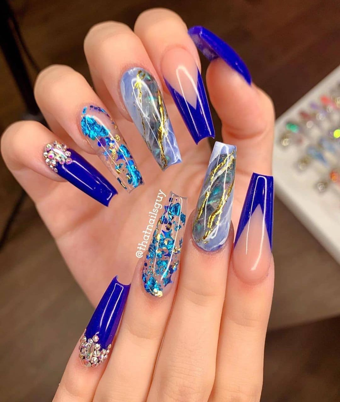 Pin On Nails Design With Rhinestones